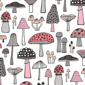Mushrooms Fall Woodland Forest Doodle Black & White Pink