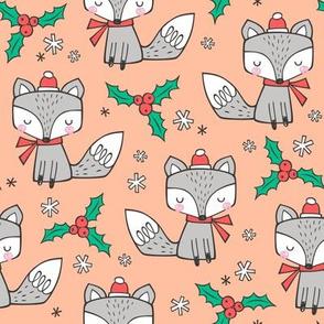 Winter Christmas Xmas Holidays Fox With snowflakes , hats  beanies,scarf  on Peach