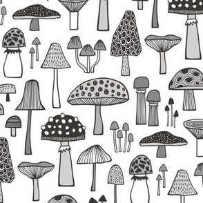 Mushrooms Fall Woodland Forest Doodle Black & White Grey