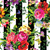 Floral Pop Stripes - Large Print Sideways