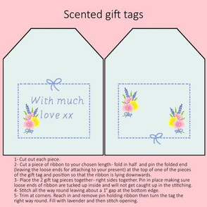 Pale blue floral gift tag - pink background