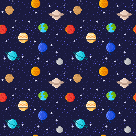 Pixel art planets fabric mzwonko spoonflower for Planet print fabric