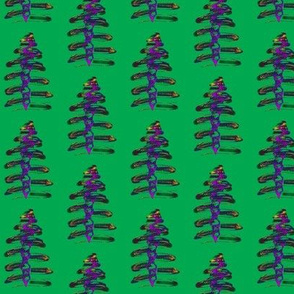 Funky Festive Trees on Emerald Green