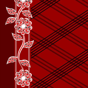 Flowers Checkered Lines Red