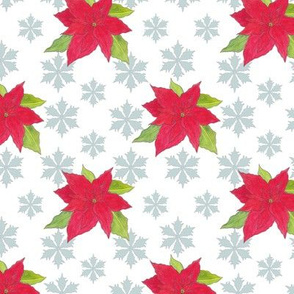 poinsettias and snowflakes
