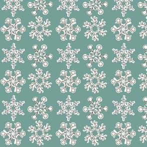 Vintage Christmas Snowflakes_dark_mint