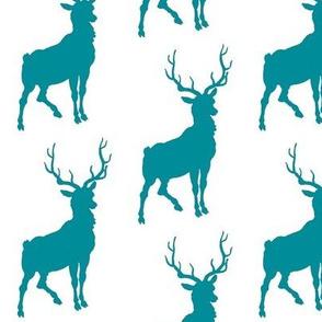 Deer Teal Aqua Stag