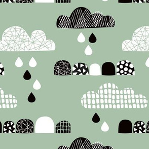 Soft fall clouds  and rain drops sky scandinavian geometric texture design green
