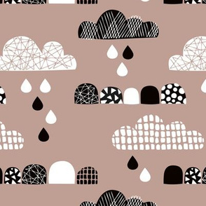 Soft fall clouds  and rain drops sky scandinavian geometric texture design beige