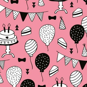 Colorful gender neutral birthday celebration party cake balloons and garland design pink