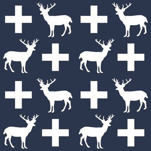 deer forest silhouette deer fawn kids navy simple nursery baby boy fabric for boys nursery outdoors camping hunting doe buck kids design for boys, plus, swiss cross, navy blue, scandi, simple kids design