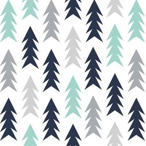 trees woodland forest triangles kids nursery baby boy grey mint navy blue simple boys design for kids nursery baby boy outdoors camping forest