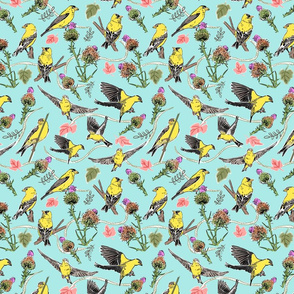 Goldfinches on Blue