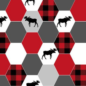 hexagon plaid cheater quilt cute moose blanket cheater quilt black and red