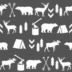 woodland grey kids forest moose bear deer charcoal