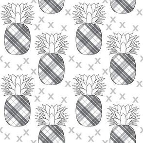 plaid pineaples on white