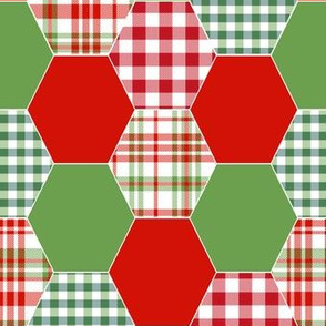 christmas hexagons green and red plaid checks tartans kids cheater quilt blanket baby throw