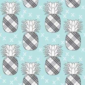 plaid pineaples on blue