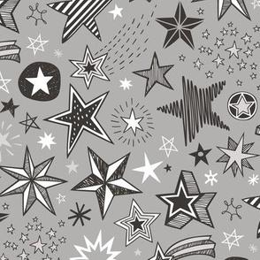 Stars Doodle Black & White on Grey