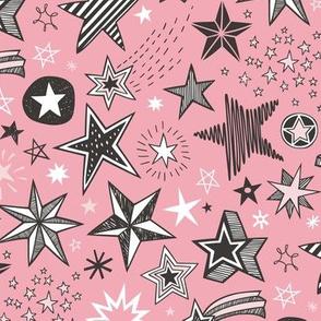 Stars Doodle Black & White on Pink