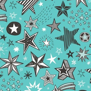 Stars doodle Black & White on Mint Green