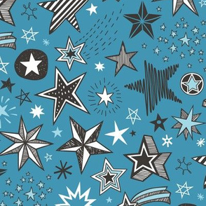 Stars Doodle Black & White on Light Navy Blue