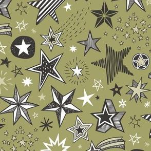 Stars Doodle Black & White on Olive Green