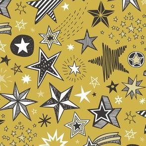 Stars Doodle Black & White on Mustard Yellow