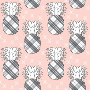 plaid pineapples on pink