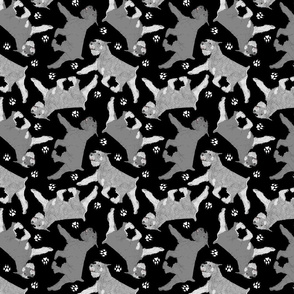 Trotting Standard Schnauzers and paw prints - black