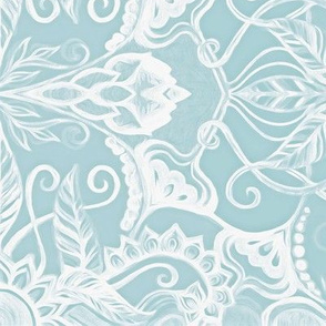 Floral Pattern in Duck Egg Blue and White Horizontal