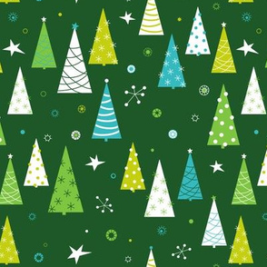 Christmas Forest with stars