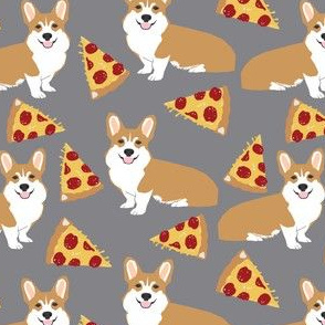corgi pizza food cute dog pet corgi fabric for corgi owners dog lovers cute funny dog fabric