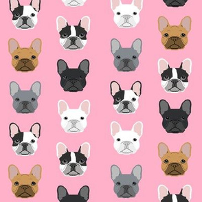 frenchie dog pink faces cute dog head for girls fabric french bulldogs fabric girly design for french bulldog owners