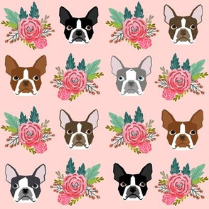 boston terrier floral face pink girls nursery baby cute dog fabric for boston terrier owners cute dogs best dog fabric
