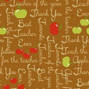 Apple for the teacher on brown