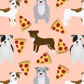 pitbull terrier pizza blush peach light fabric for pitbull owners funny dog fabric pizza food novelty print for pitbull lovers