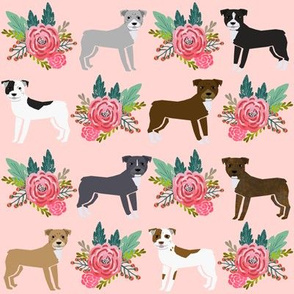 pitbull terrier pink florals flowers cute dog dogs pitbull terrier fabric