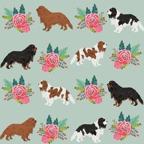 cavalier king charles spaniel dog florals flower mint floral dog dog breed fabric