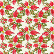 Christmas Fabric: Poinsettia Fabric (Vintage-Style)