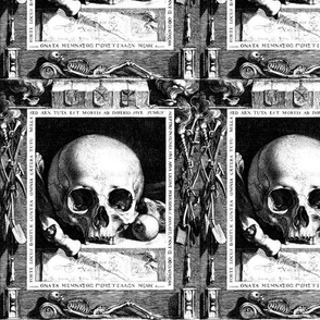 skulls bones hourglasses skeletons sleeping dead trumpets pickaxes shovels monochrome black white gothic victorian coat of arms torches death pagan Wicca witchcraft antique halloween antiques