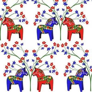 Floral  Swedish Dala Horses