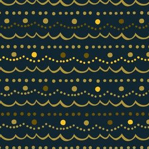 Vintage Ornament Collection - Gold/Blue Trim