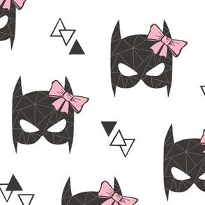 Girly Geometric Bat Mask with Pink Bow on White Larger 2,5 inch