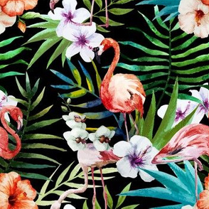 Tropical Watercolor Flamingos Palms and Plumeria Flowers