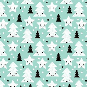 Merry christmas kawaii seasonal christmas trees and stars Japanese illustration print pastel mint XS
