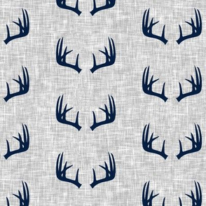 navy antlers on light grey linen (small scale)