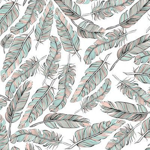 Mint and Coral Vintage Feathers
