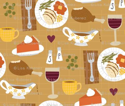 Thanksgiving Dinner wallpaper  designs_by_lisa_k  Spoonflower