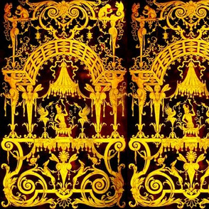 baroque rococo neoclassical squirrels monkeys vines gates gold flowers acanthus leaf leaves fairy fairies birds phoenixes dogs swirls mythology filigree thrones canopy state baldachin baldaquin trumpets soldiers victorian